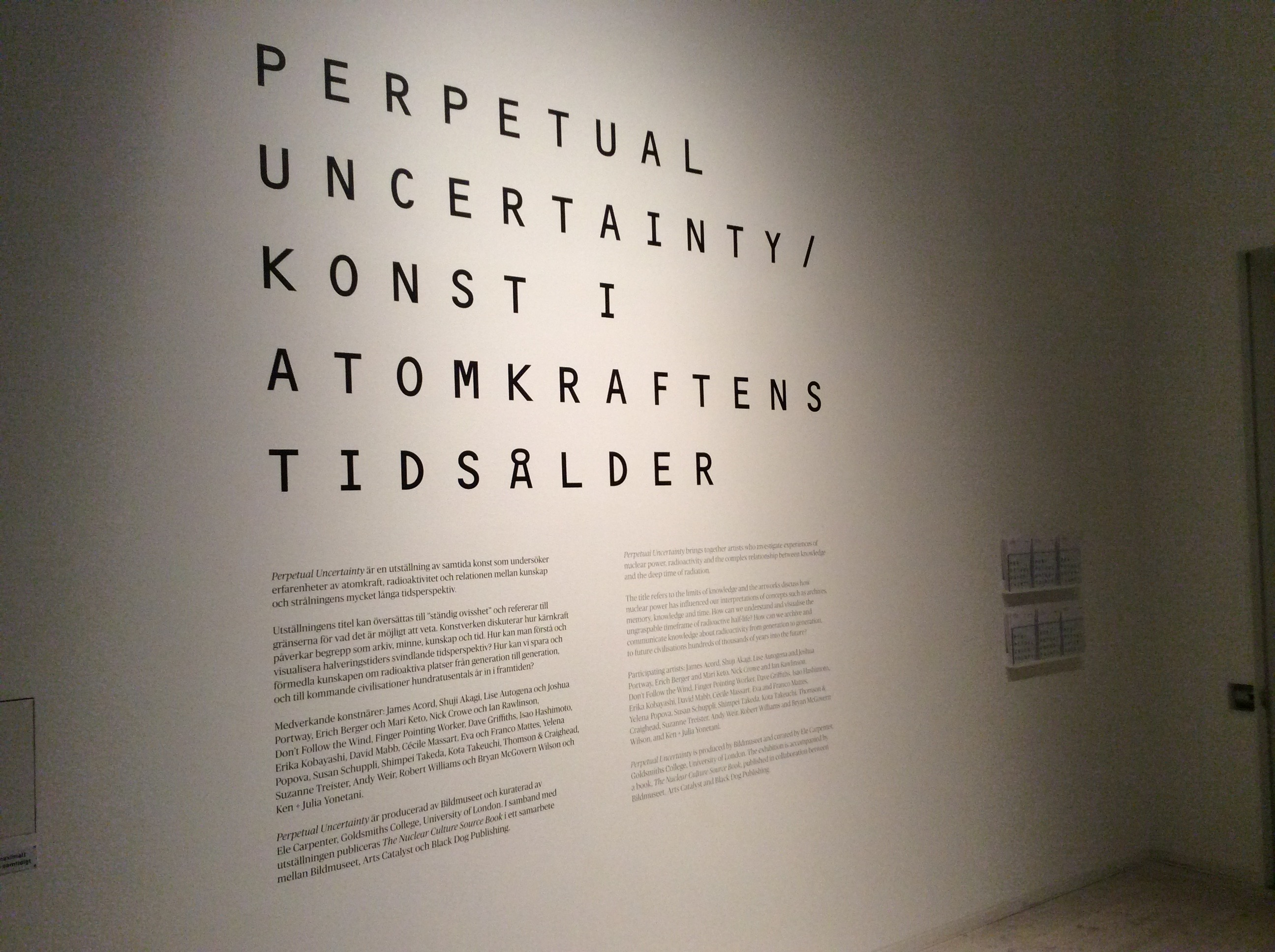 Perpetual Uncertainty / Contemporary Art in the Nuclear Anthropocene Exhibition Panel